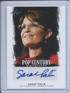 Sarah Palin 2012 Leaf Pop Century Auto Authentic Signature