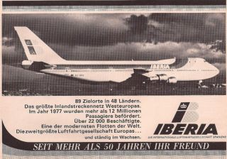 Iberia Airlines of Spain Boeing 747 EC BRQ German Ad
