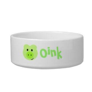 Cuenco verde lindo del mascota del cerdo boles para gatos de