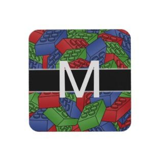 Childrens Toy Art   Building Blocks Monogram Beverage Coasters