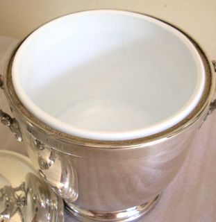 Vintage Silver Ice Bucket Cooler Champagne Ceramic Lining Scroll
