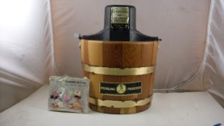 Quart Electric Ice Cream Maker Freezer with Wood Bucket