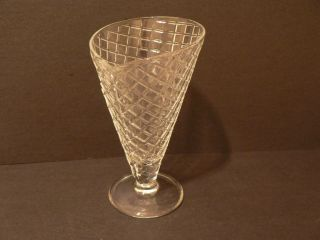Glass Ice Cream Sundae Dish Waffle Pattern Made in Italy