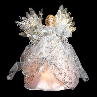 White Silver Fiber Optic Angel Christmas Tree Topper