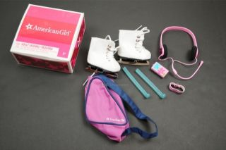 American Girl Mia Accessories Set White Ice Skates Bag Guards MP3