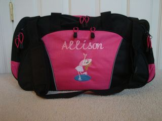 Personalized Duffel Bag Stick Figure Girl Ice Skate Skating Dance