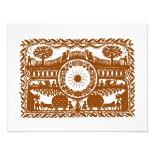 Folk Art Fall Brown Country Wedding RSVP Card Personalized Invitations