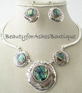 Icon Ariel Abalone Shell Necklace Earrings Set