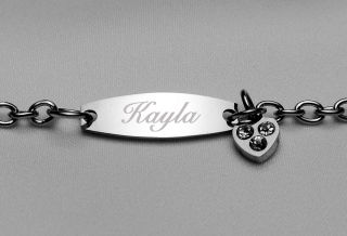 Personalized Stainless Steel Girls ID Bracelet Custom Engraved Free
