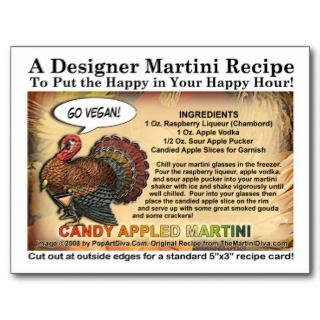 Pumpkin Eggnog Thanksgiving Martini Recipe Card Postcards