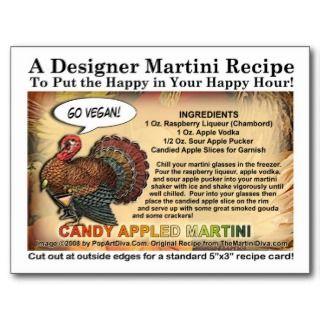Pumpkin Eggnog Thanksgiving Martini Recipe Card Postcards