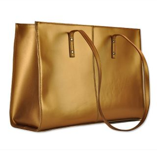 Wilsons Leather Bronze Gold Icon Tote Purse Laptop PC Computer Sleeve