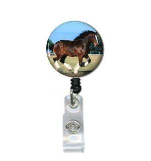 Retractable ID Badge Holder Badge Reel Horse