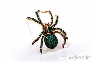 Vintage Large 8 50ct Green Emerald Gold Spider Pin Brooch
