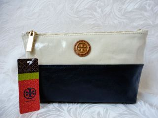 NWT Tory Burch Bengal Natural Blue Idina Dipped Zip Cosmetic Case Bag