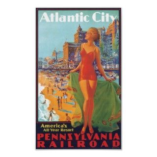 Vintage public domain travel poster advertising Pennsylvania Railroad