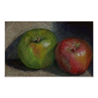 This is a print of a prismacolor colored pencil study of two apples