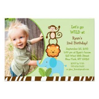 Stacked Safari Jungle Animal Birthday Invitations invitations by