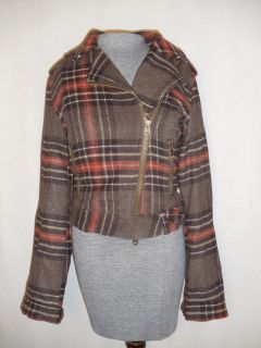 Fitch M Wool Plaid Biker Jacket Coat Ilana Moto Motorcycle