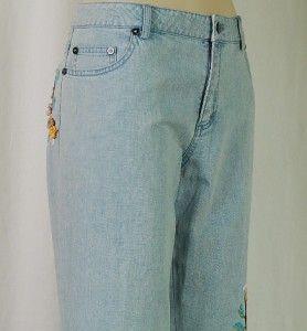 Ileana by Dana Buchman Floral Embroidery Jeans Lt Wash