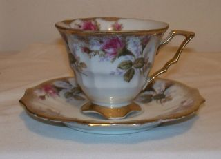 Gorgeous Vintage Royal Sealy China Moss Rose w Gold Trim Footed Cup
