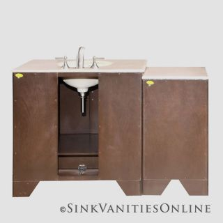 53.5 Ilene W   Single Sink Stone Bathroom Vanity Cabinet (Dark Walnut