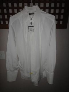 Ike Behar Evevning New White 100 Cotton Point Collar Tuxedo Shirt