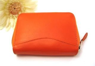Ili Leather Credit Card Holder Card ID Case One Zip Indexer Orange New