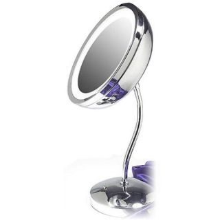 6X Magnification Pedestal Make Up Lighted Mirror Chrome
