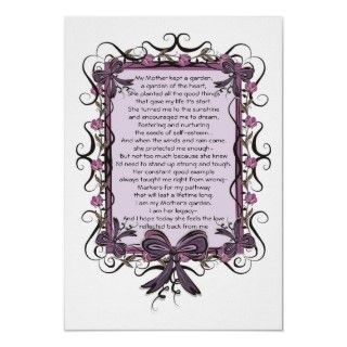 Floral Tulip framed Mothers Day Poem Print