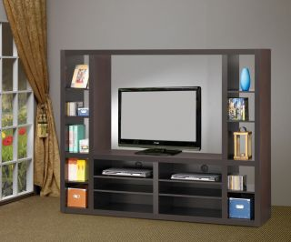 Entertainment Wall Unit Cappuccino Finish Up to 46 TV