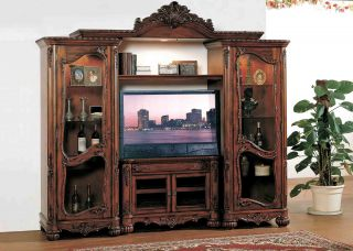 Traditional French Entertainment Center Wall Unit 3pc
