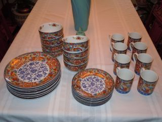Imari Edo China Dinnerware 32pc Set Red Blue