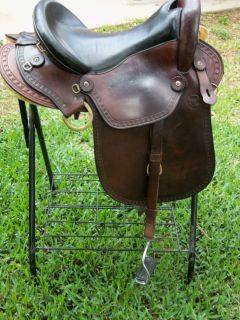 Imus Endurance Saddle   Brown with Black seat and English Leathers