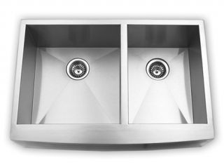 33 Stainless Steel Kitchen Sink Farm Apron Curved Front Double Bowl w
