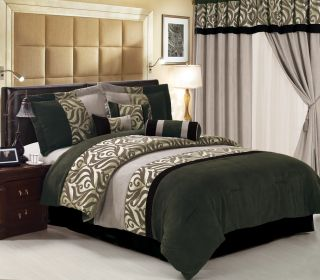 Traditional Sage Black Floral Suede Comforter Bed in a Bag Set King