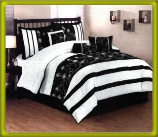 Embroidery Floral Stripe Bed In A Bag Comforter Set Queen Black/White