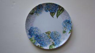 Blue Hydrangea Melamine Plastic 10 Dinner Plates from Keller Charles
