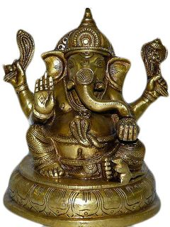 Brass Alter Statue Good Luck Ganesh Hindu Gods Sculpture India Idols