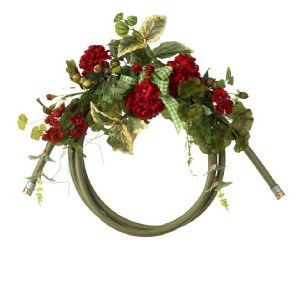 New RAZ Garden Hose and Red Geranium Summer Flower Wreath