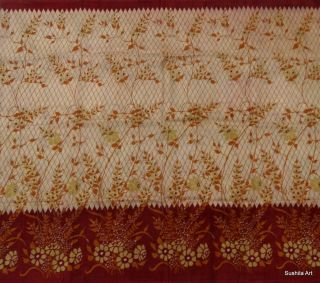 Indian Pure Silk Vintage Sari 5 Yard Fabric Big Flowers Print Design