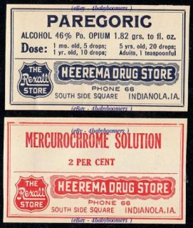 Heerema Rexall Rx Drug Store Indianola Iowa Medicine Bottle Labels