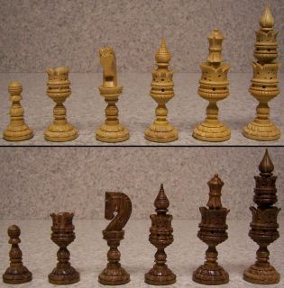 Chess Set & folding Storage Box Board India Maharaja hand carved solid