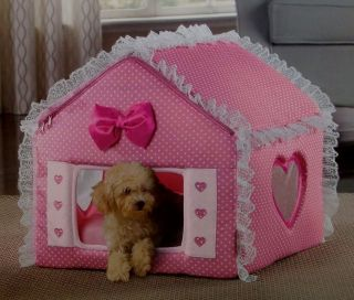 Cute PINK Travel Indoor Covered Bed Cat Dog Collapsible House LOVE