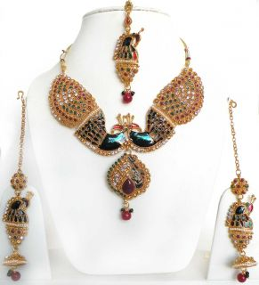 Peacock India Polki Kundan Bollywood Designer Gold Tone Necklace Set
