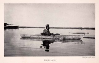 Halftone Print Alaska Eskimo Kayak Boat Native Indian River Lake Canoe