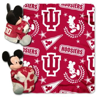 Disney Indiana Hoosiers Mickey Mouse Plush & Blanket Set: 40x50 Fleece
