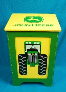 John Deere Wood Box Bin Clothes Hamper Garbage Toys Child Decor