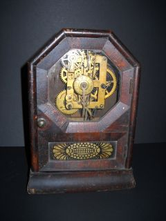 19thC Seth Thomas Ogee Mantle Clock Industrial Revolution Gears