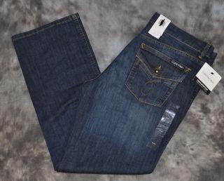 Calvin Klein Womens Denim Jeans Lean Bootcut Dark Blue Size 4x32